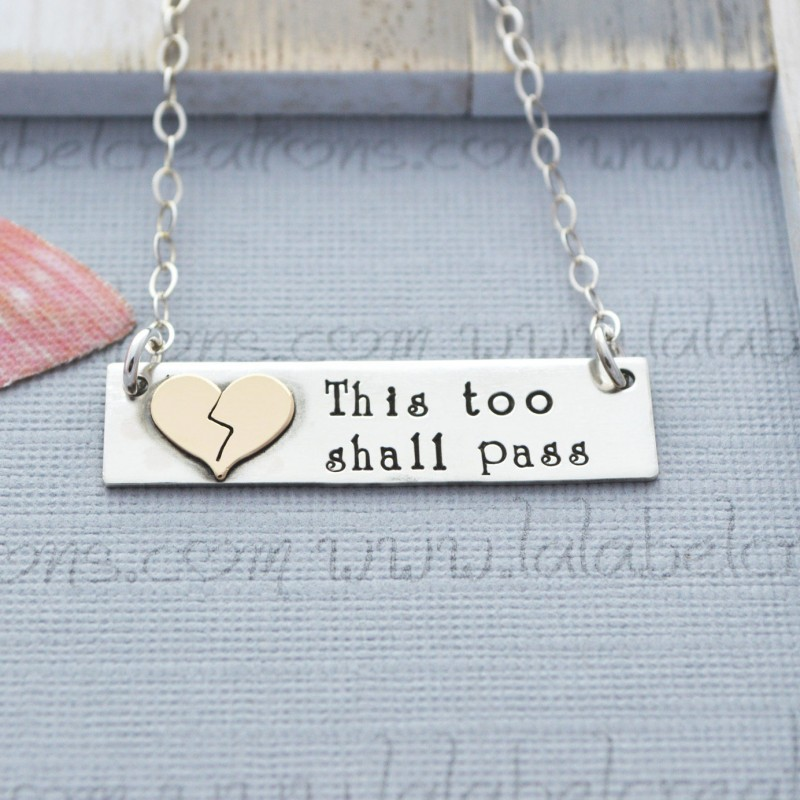 This Too Shall Pass Necklace, Grief and Mourning Jewelry, Broken