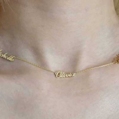 Three Name Necklace - Personalized Necklace - Name Necklace - Custom Name Necklace - Tiny Name Jewelry - Family Necklace - Mother's Day Gift