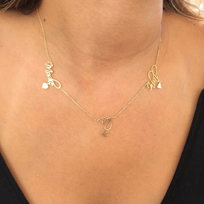 74fa25fb4f4f7 Three Names Necklace with Special Pendant / Personalized Gold ...