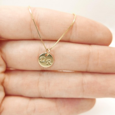 Tiny 18k gold necklace. 2 Initials pendant. Letter charm necklace. Personalized necklace. monogram necklace. initial necklace.Gift ideas