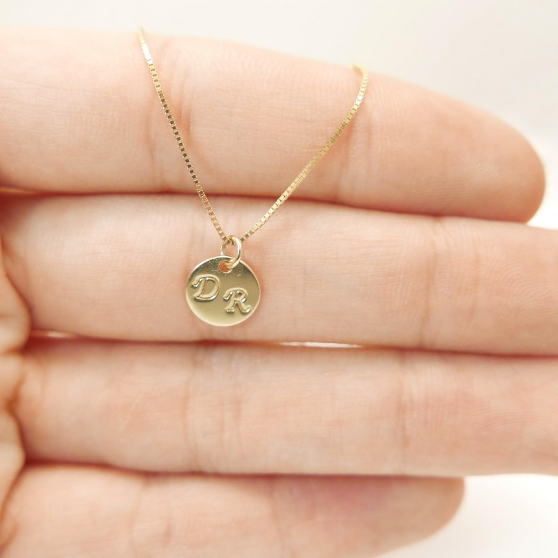 Tiny 14k Gold Necklace 2 Initials