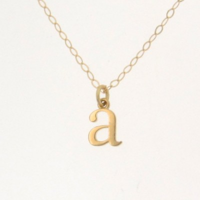 Tiny Lowercase Initial Necklace, Personalized Necklace, Your Letter - 18k SOLID Gold Ultra Feminine Initial Necklace by Theresa Mink