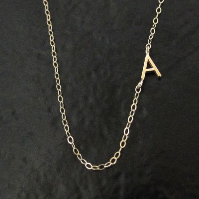Tiny Sideways Initial Necklace - Single or Multiple Initials 18k SOLID GOLD, Letter Necklace As Seen on Audrina Patridge And Mila Kunis