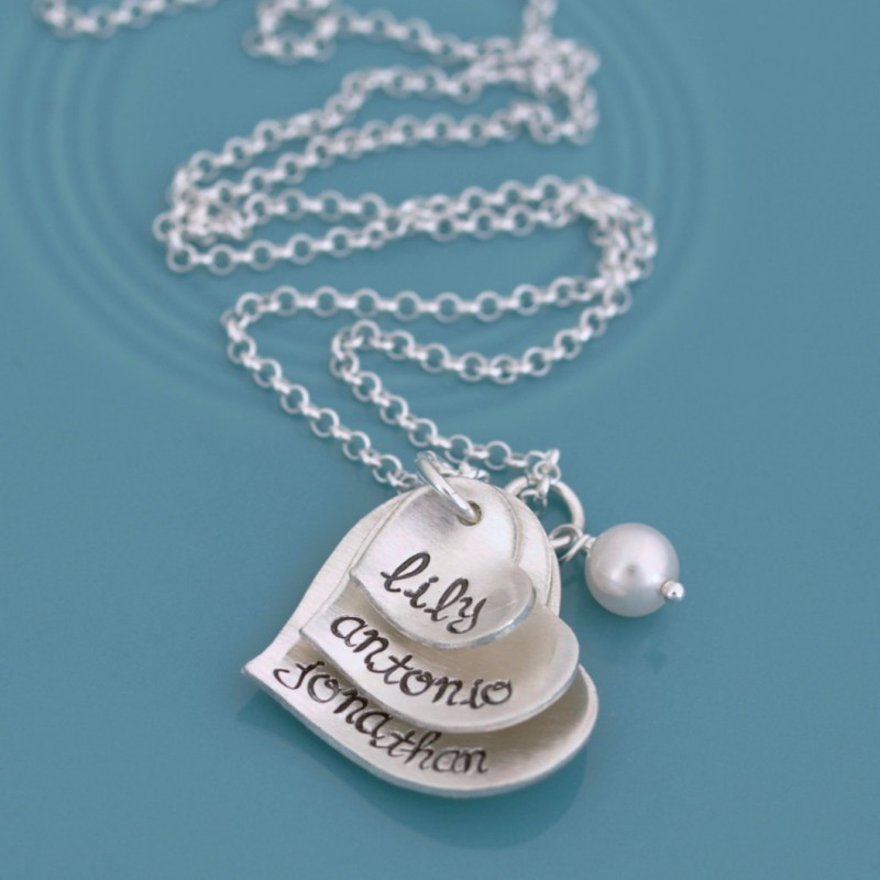 Triple Layer Mothers Necklace, Stacked Heart 3 Name Necklace for Mom ...