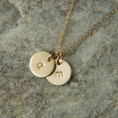 Two Disc Necklace 8 mm Personalized Initial Necklace Gold Necklace 18k Solid Gold Necklace Layering Necklace Gold