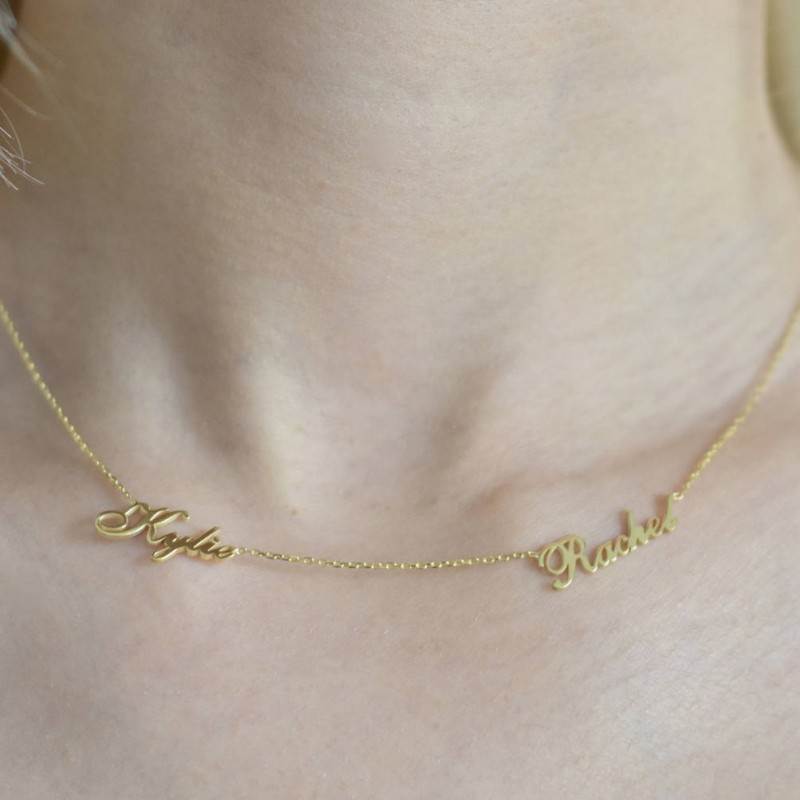 e9cf54ae3a284 Two Name Necklace - Personalized Necklace - Name Necklace - Custom ...