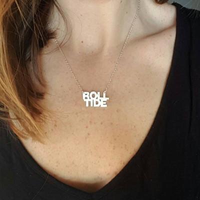 University of Alabama Roll Tide Necklace; Silver, Brass, or Gold plated Alabama Necklace; Roll Tide Roll; Alabama Roll Tide; Crimson Tide