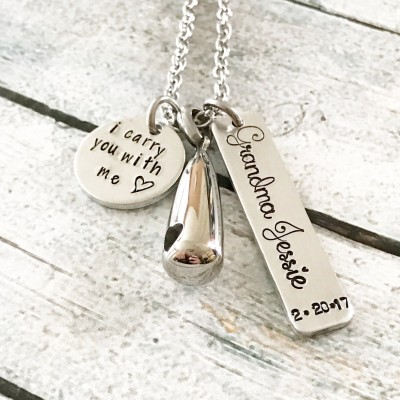 Urn necklace - Hand stamped necklace - Memorial necklace - Cremation jewelry - Commemorative necklace - I carry you with me