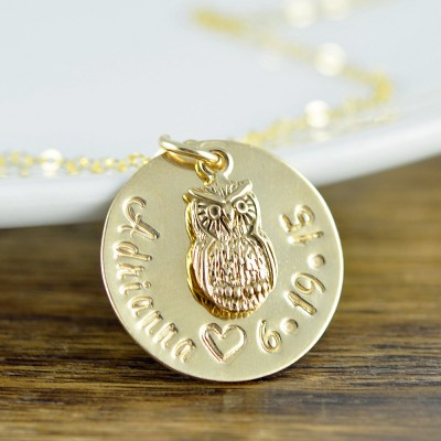 Valentine Gift - Owl Necklace - Owl Jewelry - New Mom Gift - Owl Love You Forever Necklace Hand Stamped Jewelry - Gold Owl Necklace