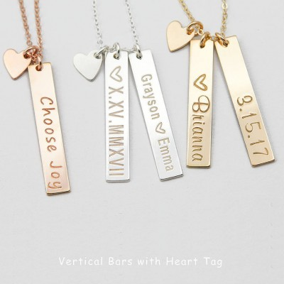 Vertical Gold Bar Necklace, Gift for Her, Mother's Necklace, Gold Nameplate, Custom Initial Bar Necklace, , Gift for Wife