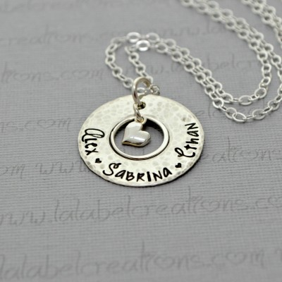 Washer Necklace Personalized Necklace with Childrens Names, Hand Stamped Necklace for Mom Christmas Gift Personalized Jewelry Sterling