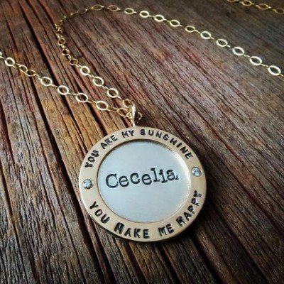 Wide Gold Framed Diamond Pendant Necklace Personalized Mixed Metal Women's Mommy Jewelry Hand Stamped 18k Gold and Silver Names Custom Fine