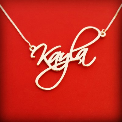 Wire Name Necklace Signature Necklace White Gold Handwriting Necklace Word Necklace Birthday Gift Necklace With Name Wire Necklace Wire