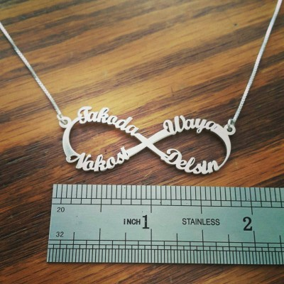 XLARGE Infinity Style Name Necklace Friendship Necklace Eternal Love Infinity Sign for Infinity Celebrity Fashion Silver Name Necklace