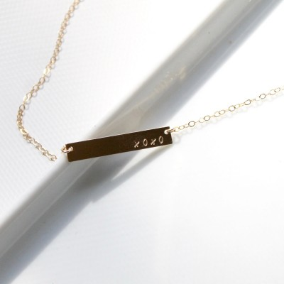 XOXO Necklace - LOVE Necklace - Stamped on 18k gold or Sterling Silver Bar