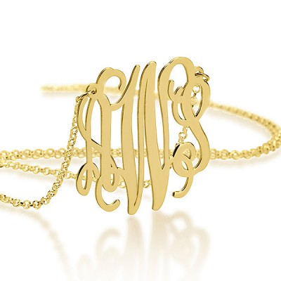 XXL Monogram Necklace 2 Inch - 18K Gold Plated - Statement Personalized Gift