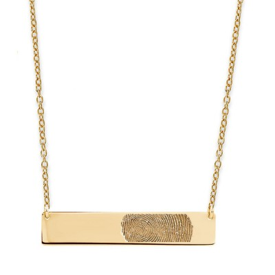 actual fingerprint horizontal bar nameplate promise necklace in sterling silver, 18k rose or 14 yellow Gold Plated • Mother's day gifts