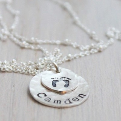 baby foot print and name stamped necklace, maternity necklace, custom stamped name, baby feet charm, push present new mom