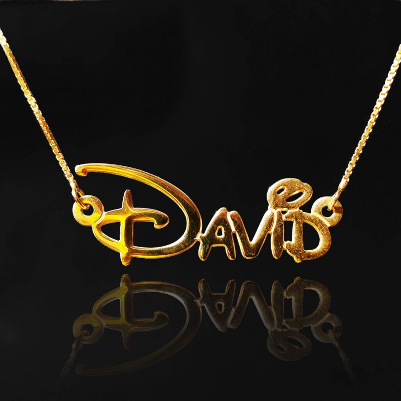 dd7fa6831 gold 18k disney font necklace with name disney custom name Disney Adventure Name  Necklace Disney Style Font men Personalized Disney Jewllery