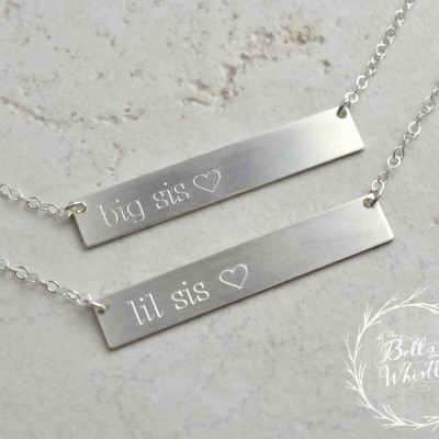 lil sis necklace, big sis necklace, Personalized Bar Necklace, gold bar necklace, little sister gift, lil sis, big sis, big sister LA104