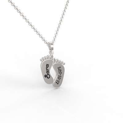 personal feet pendant, silver feet name, Name feet, baby foot name and date,