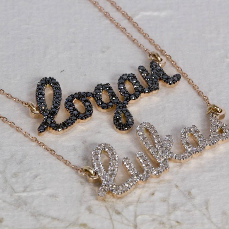 696c12f1a two name necklace , layered name necklace , diamond name necklace , double  name necklace , name necklace gold , script name necklace