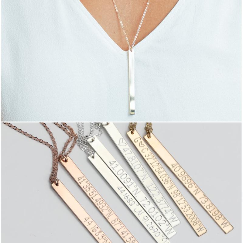 Engraved Coordinates Bar Necklace Long Skinny Bar