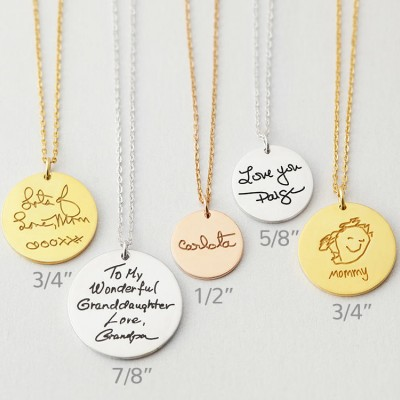 Actual handwriting necklace • Custom handwriting jewelry • Memorial necklace for mom • Keepsake necklace • Gift for mom