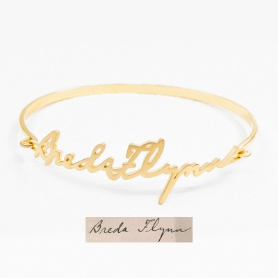 Actual signature bangle• Signature Bracelet • Handwriting Jewelry in Silver • Handwriting Bracelet • Mom Bracelet