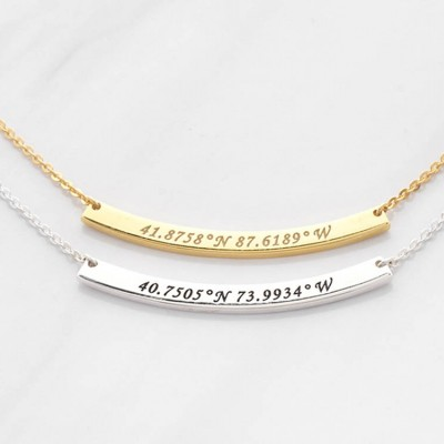Bar Coordinates Necklace • Latitude Longitude Necklace • Coordinates Gift • GPS Necklace • Necklace with Coordinates