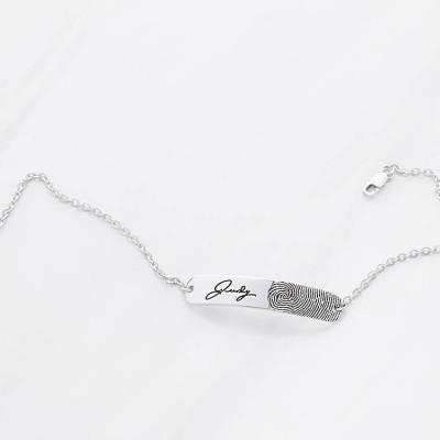 Bar Handwriting & Fingerprint Bracelet • Loved One's Fingerprint Jewelry • Memorial Bracelet for Loss of Mother • Sympathy Gift