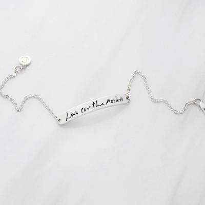 Bar Handwriting Bracelet - Memorial Bracelet in Sterling Silver - Handwritten Bracelet - Signature Bracelet with Actual Handwriting