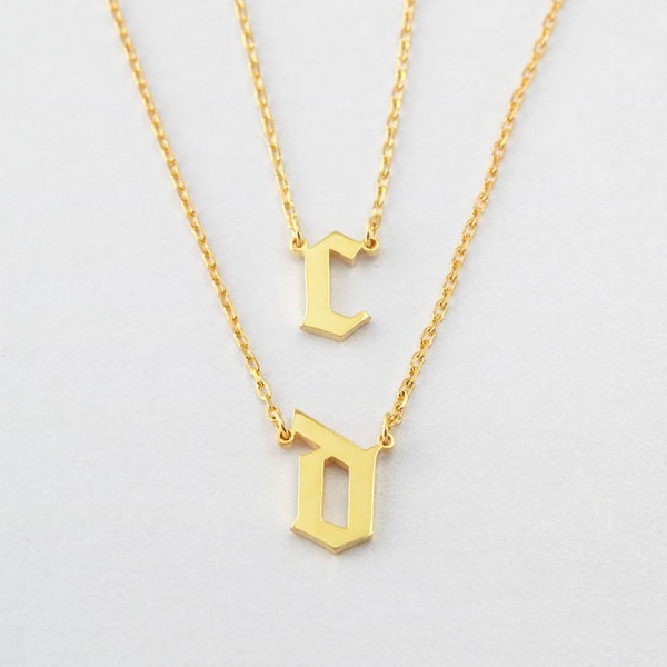 Cara Delevingne Necklace Set - Gothic Initial Necklaces (Duo Set) - Gothic Letter Necklaces