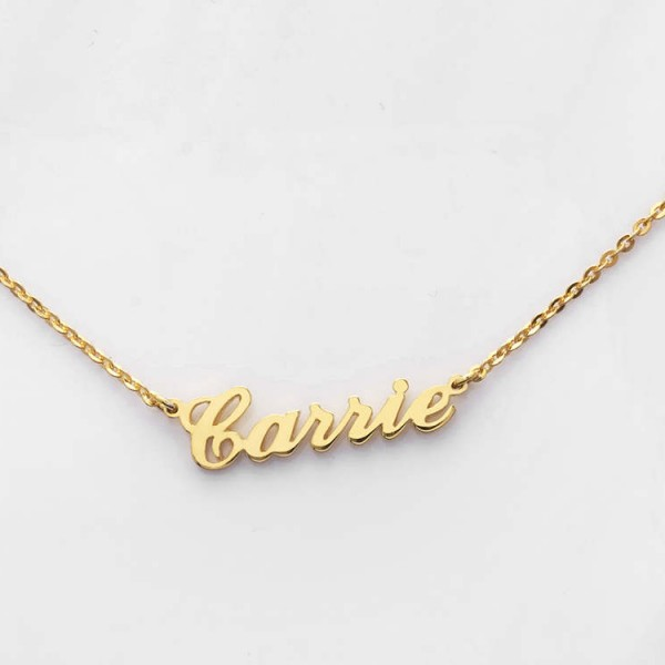 Carrie Name Necklace - Classic Name Necklace - Silver Name Jewelry - Gold plated Name Necklace - Sex and City Name Necklace