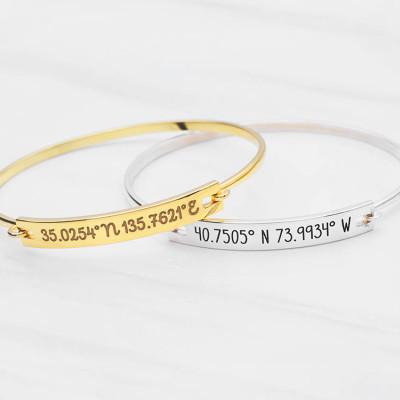 Coordinates Bracelet - Latitude Longitude Jewelry - GPS Coordinates Bangle - Longitude and Latitude Bracelet  - Mother's Gift