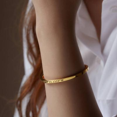 Coordinates Bracelet • Latitude Longitude Bracelet • Coordinates Jewelry • Coordinates Bangle in Sterling Silver