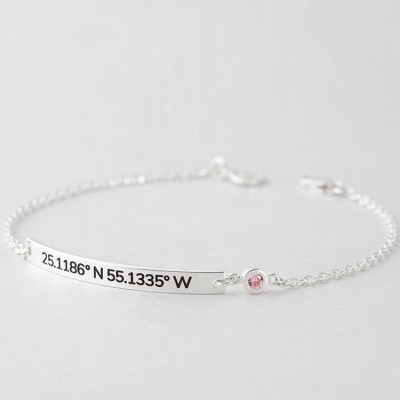 com stamped longitude latitude hand custom coordinates gps and amazon dp bracelet personalized