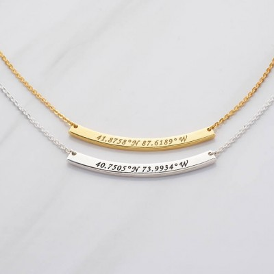 Curved bar coordinates necklace • Silver latitude longitude necklace • Going away gifts for co-workers • Farewell gifts for boss