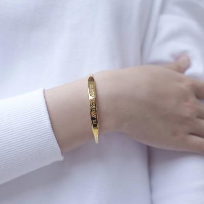 Custom Coordinates Jewelry • Gold Coordinates Bracelet • Tapered Coordinates Cuff • GPS Bracelet • Latitude Longitude Jewelry