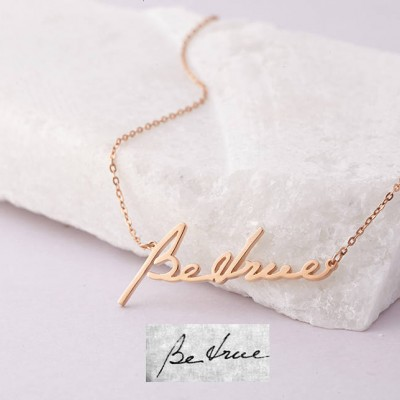 Custom Handwriting Jewelry • Actual Handwritten Necklace • Personalized Memorial Necklace in Sterling Silver • Sympathy Gift