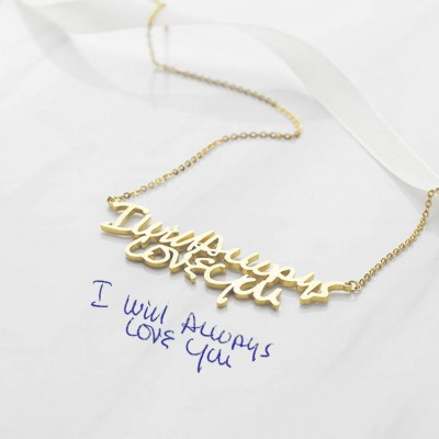 Custom Handwriting Necklace (Premium Large Pendant) • Memorial Necklace in Silver • Actual Handwritten Jewelry • Personalized Gift