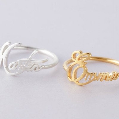 Custom Name Ring in Sterling Silver • Custom Mother Ring • Gold Name Ring • Dainty Gold Ring • Kid's Name Ring (Price is for ONE ring)