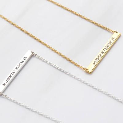Custom coordinates necklace • Silver latitude longitude jewelry• Bridesmaid necklace • Bridesmaid jewelry • Bridesmaid gifts