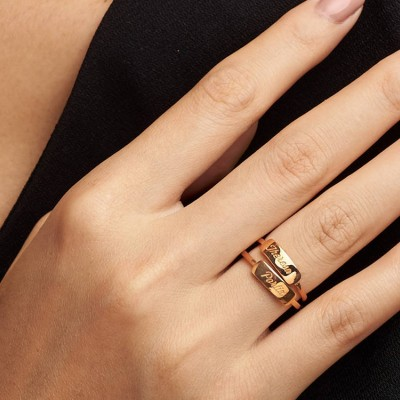 Dainty Bar Ring • Gold Stacking Ring • Skinny Name Ring • Dainty Gold Ring • Personalized Bar Ring  (Price is for ONE ring)