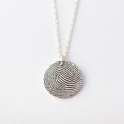 Dainty Disc Fingerprint Necklace • Engraved Fingerprint Pendant • Engraved Necklace with Fingerprint • Unique Memorial Gift