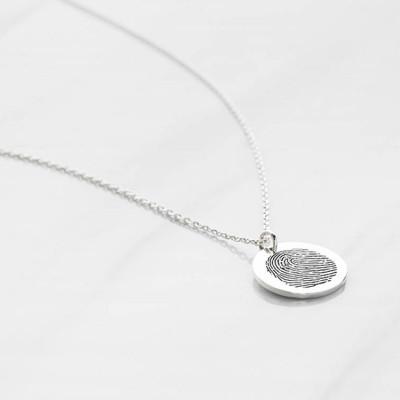 Dainty Fingerprint Necklace • Fingerprint Pendant • Loved One's Fingerprints Jewelry • Personalized Memorial Necklace