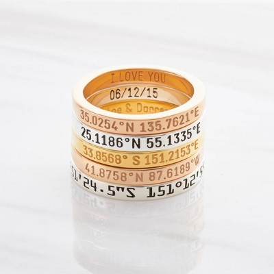 Dainty Latitude Longitude Ring • Custom Coordinate Ring • Personalized Coordinate Jewelry • Location Ring in Sterling Silver