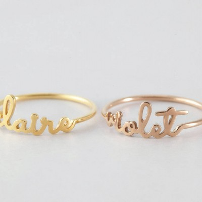 Dainty Name Ring - Children Name Ring - Name Ring Gold - Personalized Name Jewelry - Solid Sterling Silver