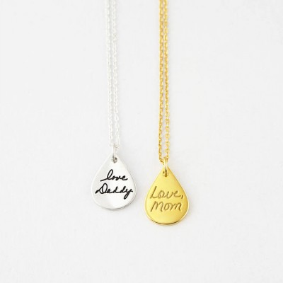 Dainty Signature Necklace • Tear Drop Handwriting Necklace • Memorial Necklace  • Personalized Handwriting Jewelry •  Signature Gift