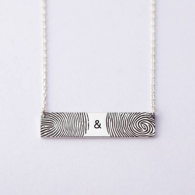 Double Fingerprint Necklace • Sympathy Gift for Loss of Loved One • Personalized Memorial Jewelry • Actual Fingerprint Pendant